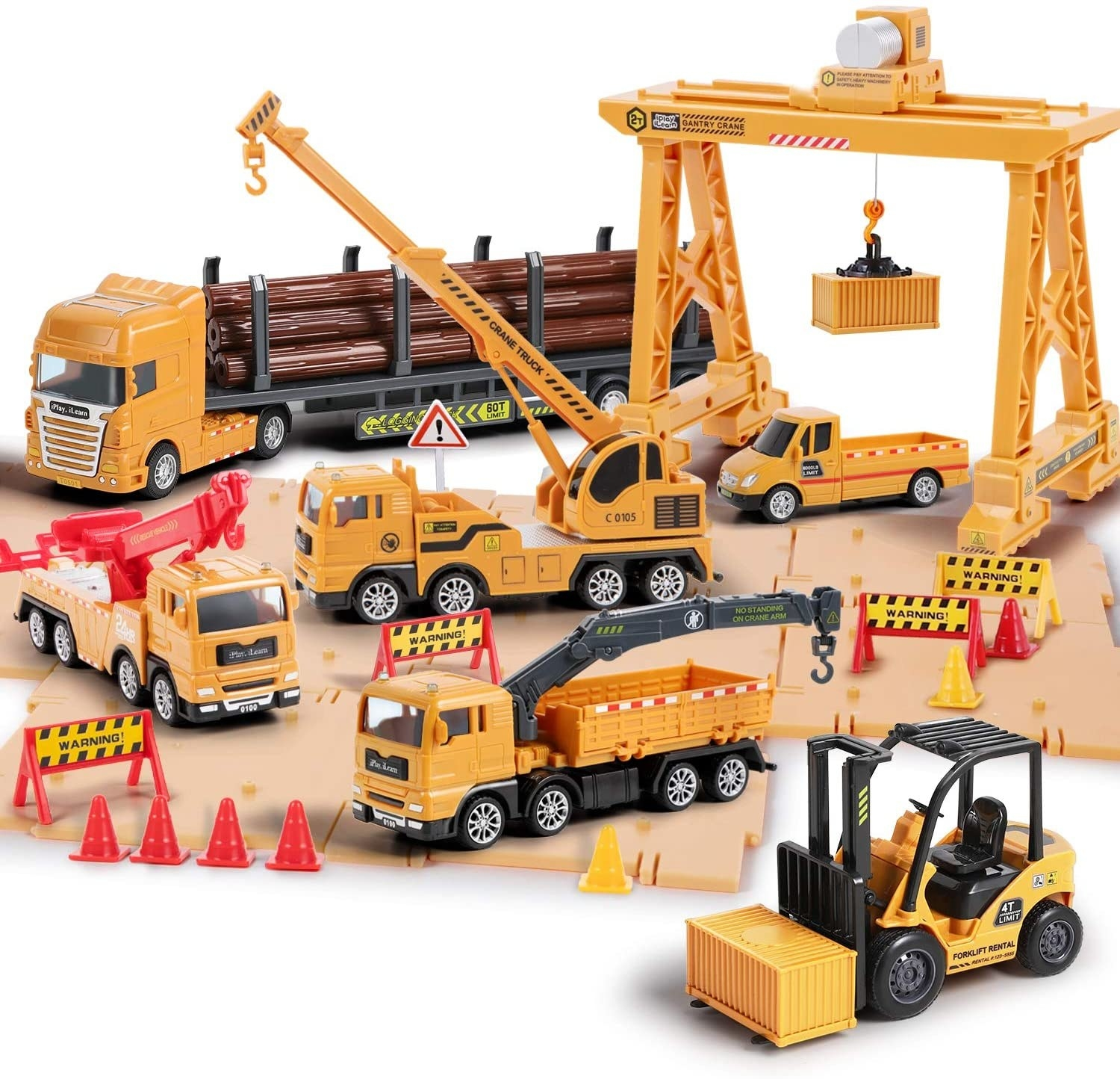 Multiple plastic yellow construction vehicle toys and accessories