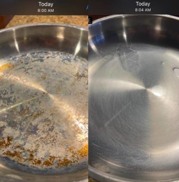 On the left, a pan looking rusty and dirty, and on the right, the same pan looking clean and shiny just four minutes later
