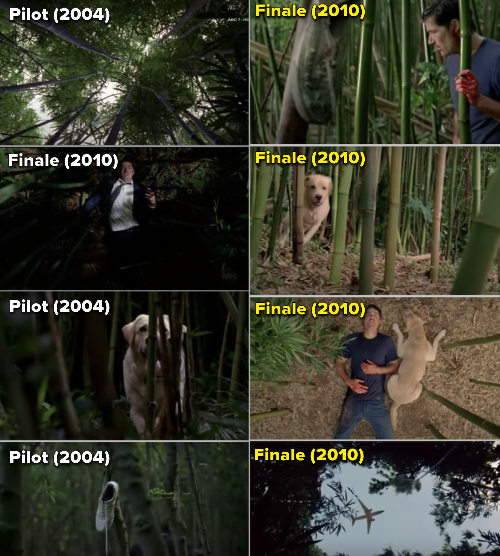 "Side-by-sides of the first scene from the pilot of ""Lost"" perfectly mimicking the final scene in the last episode, only everything appears in reverse"