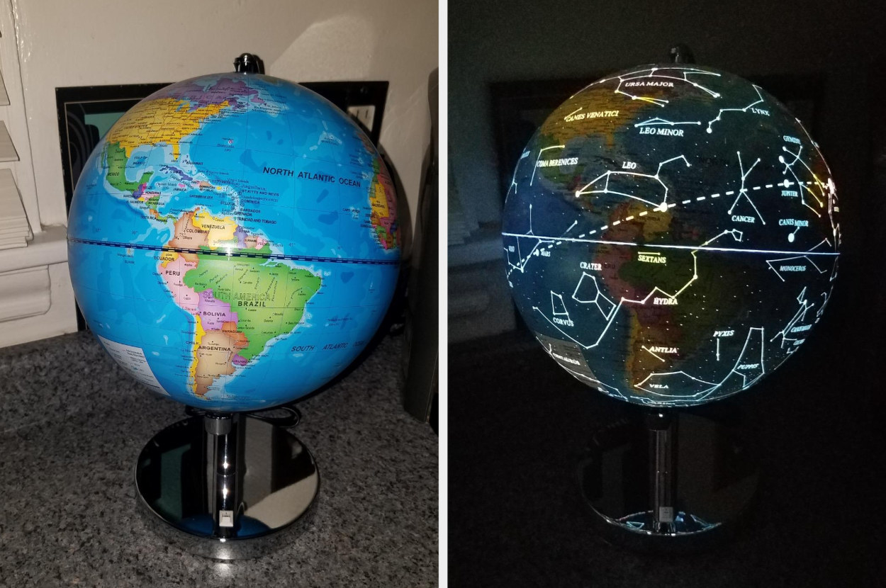 A reviewer's split image photo of the globe in world map form and lit up in constellation mode