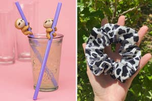 On the left, reusable straws with sloths on them. On the right, a velvet cow print scrunchie