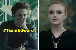 Edward in biology class covering his nose and mouth with his hand in biology class on the left, and jane on the right