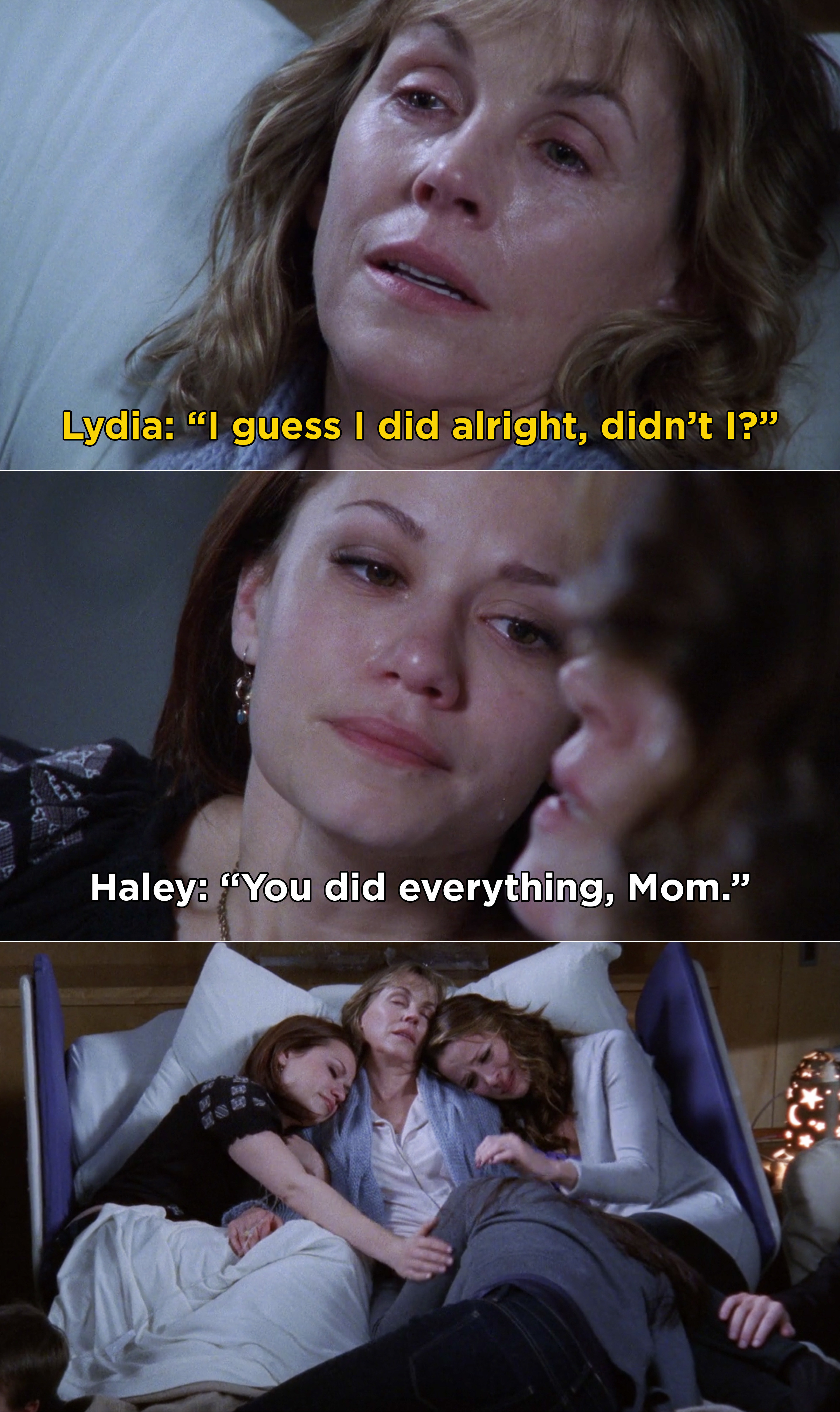 Lydia asking if she did alright, and Haley saying that she did everything