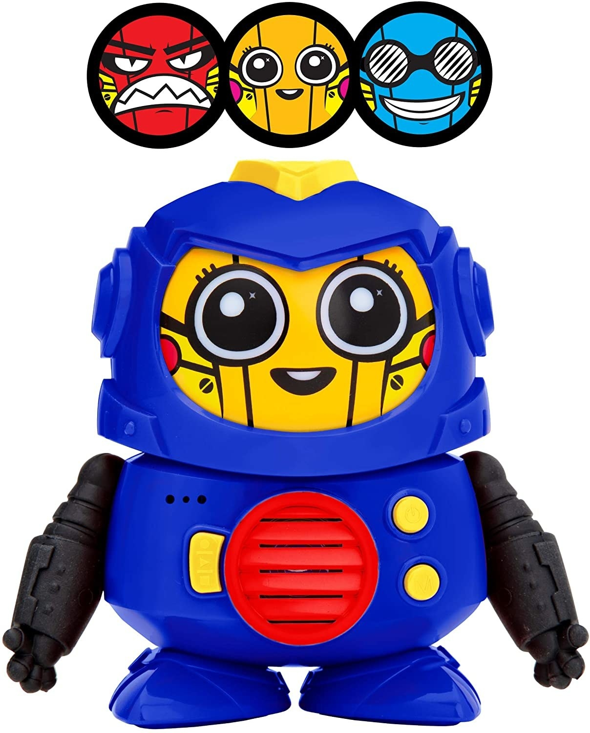 A blue plastic robot with three different face options
