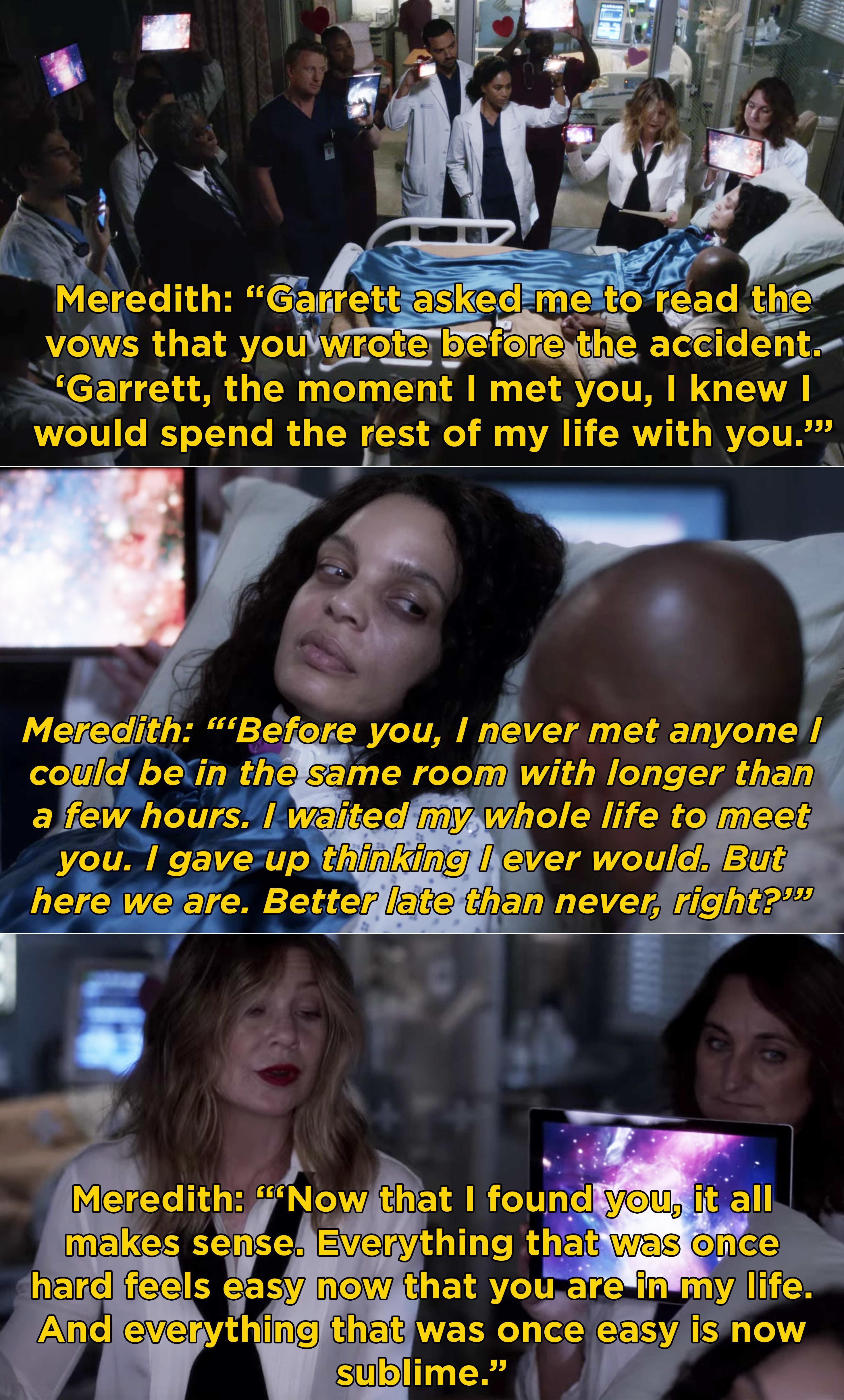 Meredith reading Natasha's vows to Garrett