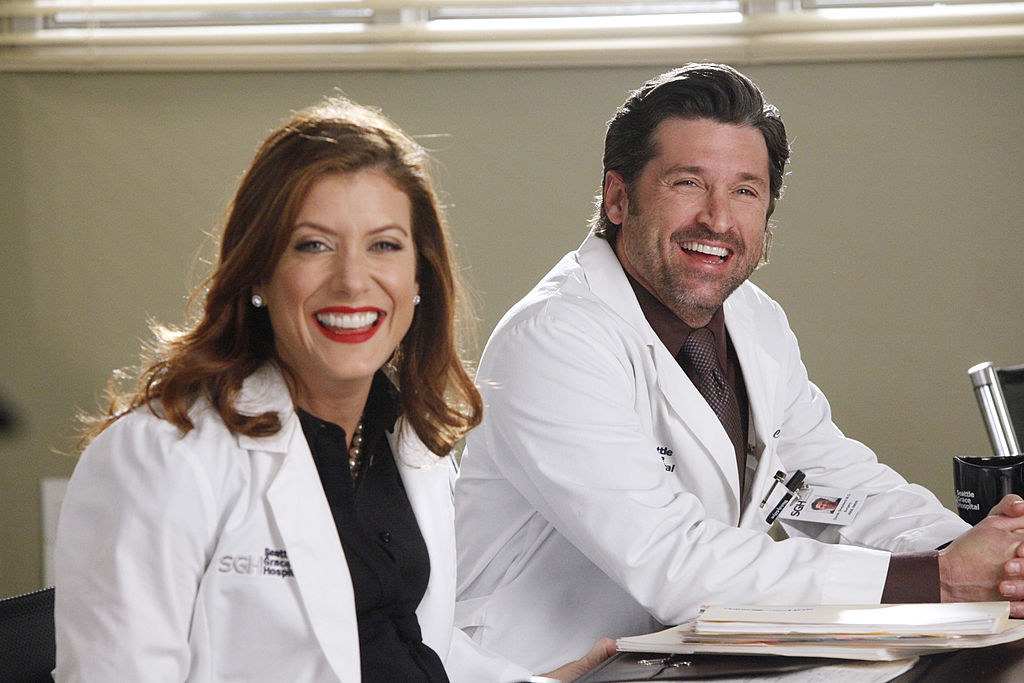 """""""Grey's Anatomy"""" characters Addison and Derek smiling"""