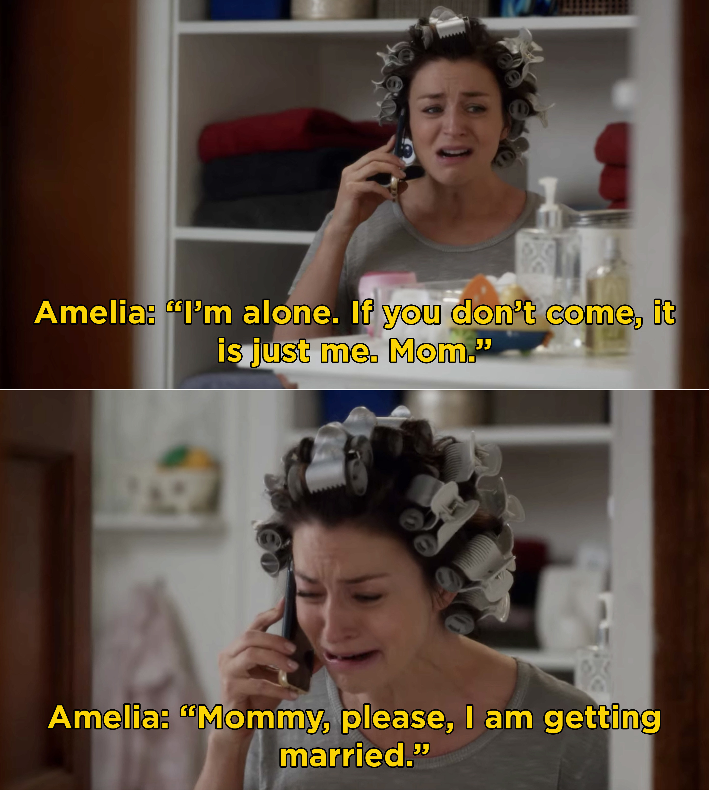 Amelia crying on the phone with her mom and pleading that her mom comes to her wedding