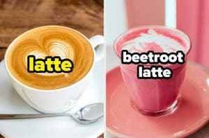 A latte next to a beetroot latte