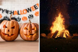 Halloween decor and bonfire.