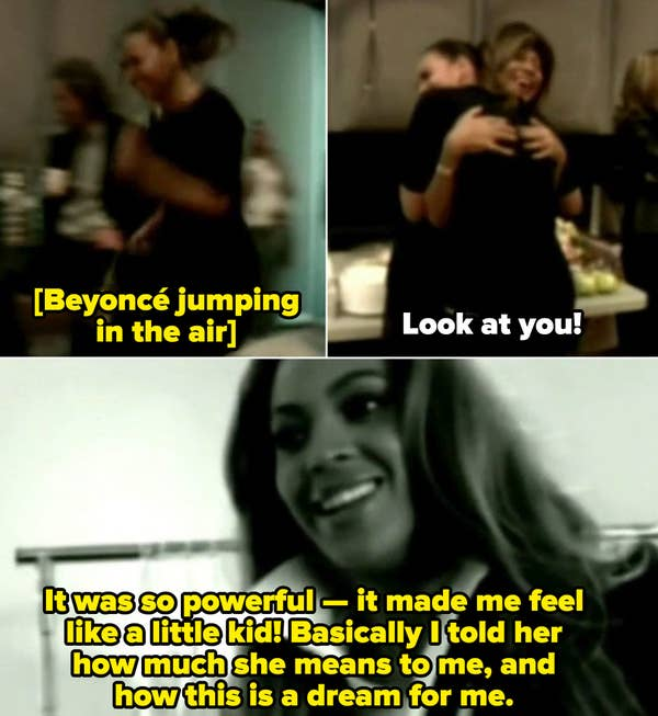 Beyoncé jumping in the air while meeting Tina Turner, and telling her just how much she meant to her