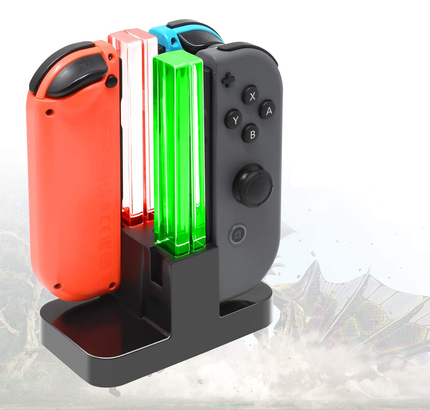 A small docking station with three Switch controllers charging on it