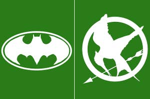 Side-by-side images of the Batman logo and the Hunger Games logo
