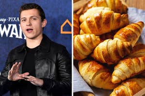 On the left, Tom Holland, and on the right, a basket of croissants