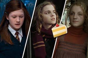 ginny on the left, hermione in the middle, and luna on the right with a cake emoji