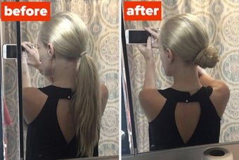 A before-and-after photo of a reviewer with perfect bun after using mini spin hair ties