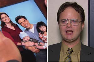 A photo from a prank Jim pulled out Dwight where he replaced himself with an Asian man on the left, and Dwight on the right