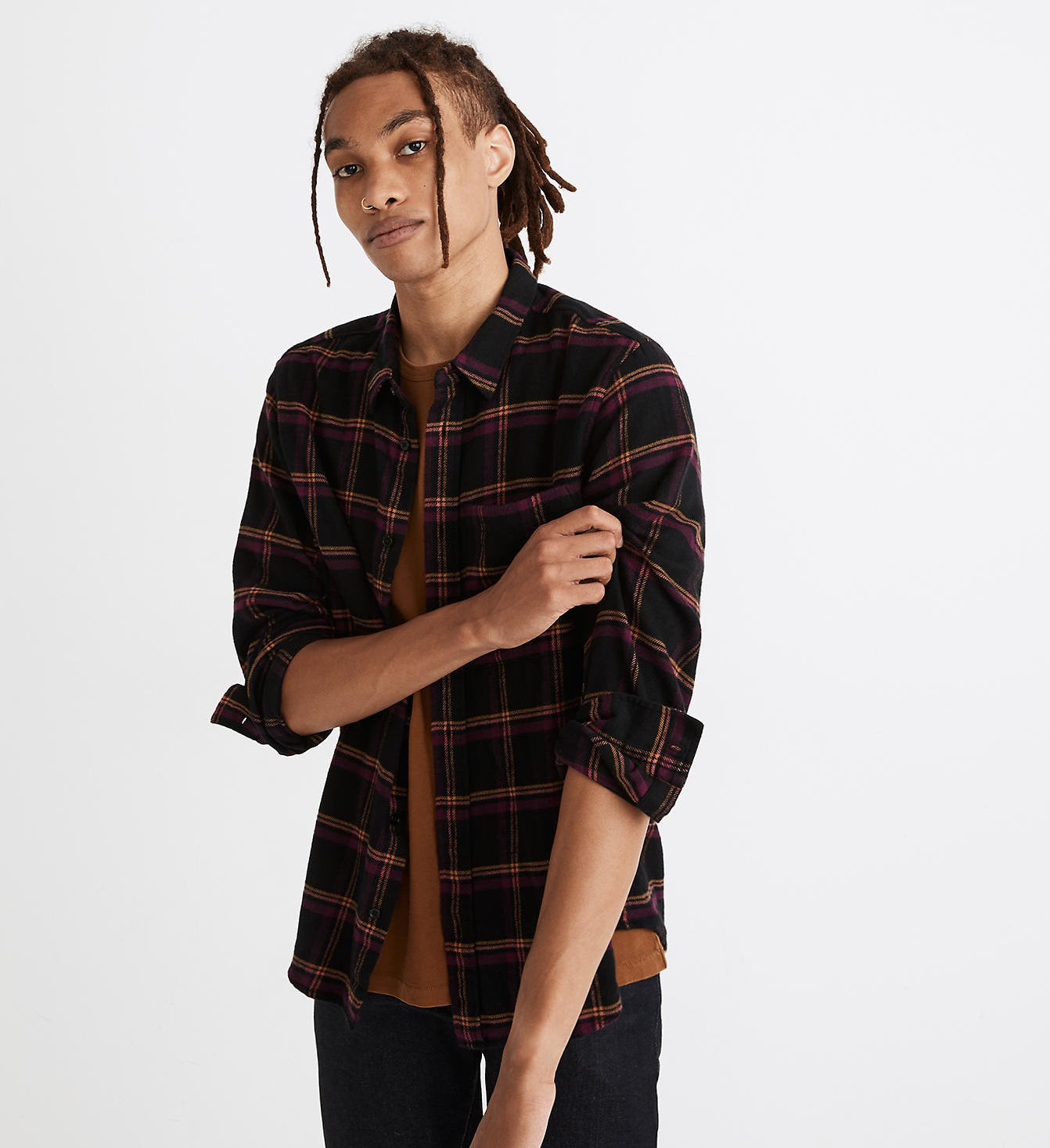 Model wearing Madewell double-brushed flannel perfect shirt in peretz plaid