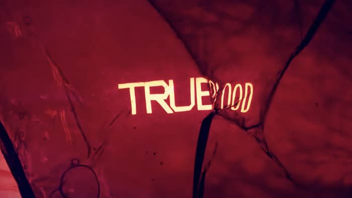 """True Blood"" title card — which is closeup blood cells."