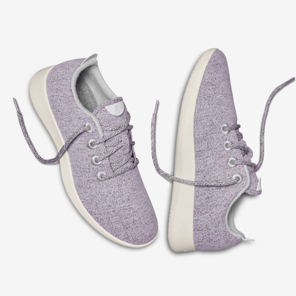 The light purple sneakers with white bottoms