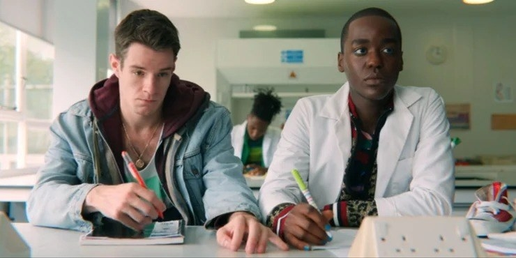 """""""Sex Education"""" characters Adam and Eric subtly flirting in their shared science class"""