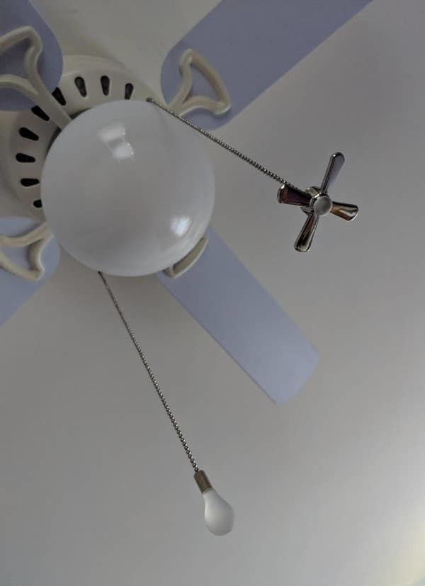 The ceiling fan chain pulls