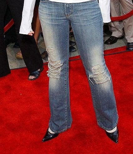 a closeup of lindsay's jeans