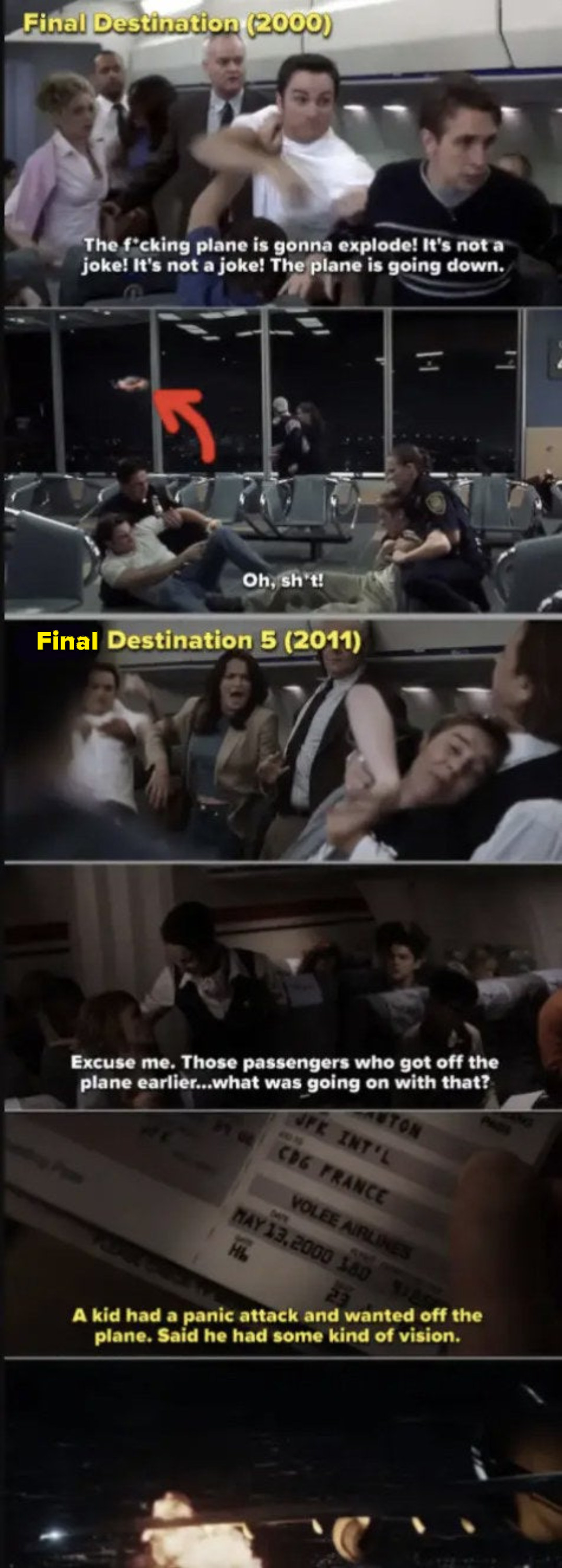 """Side-by-side of the first plane exploding in the first """"Final Destination"""" movie, vs. the same plane exploding in the 5th installment"""