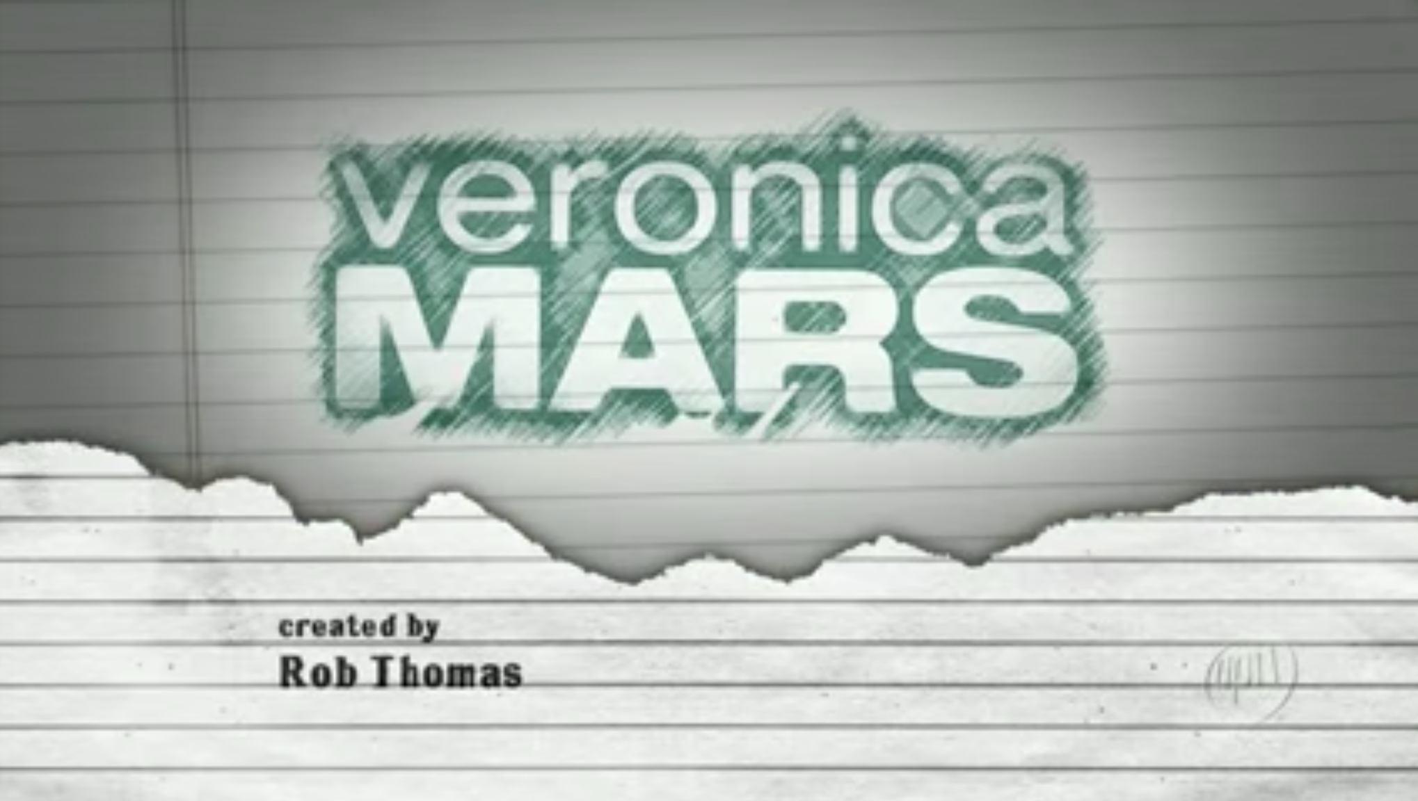 """Veronica Mars"" title card — which is the title of the show in pencil on notebook paper."