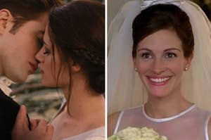 "Characters from ""Twilight"" are kissing at the altar with the ""Runaway Bride"" smiling under a veil"