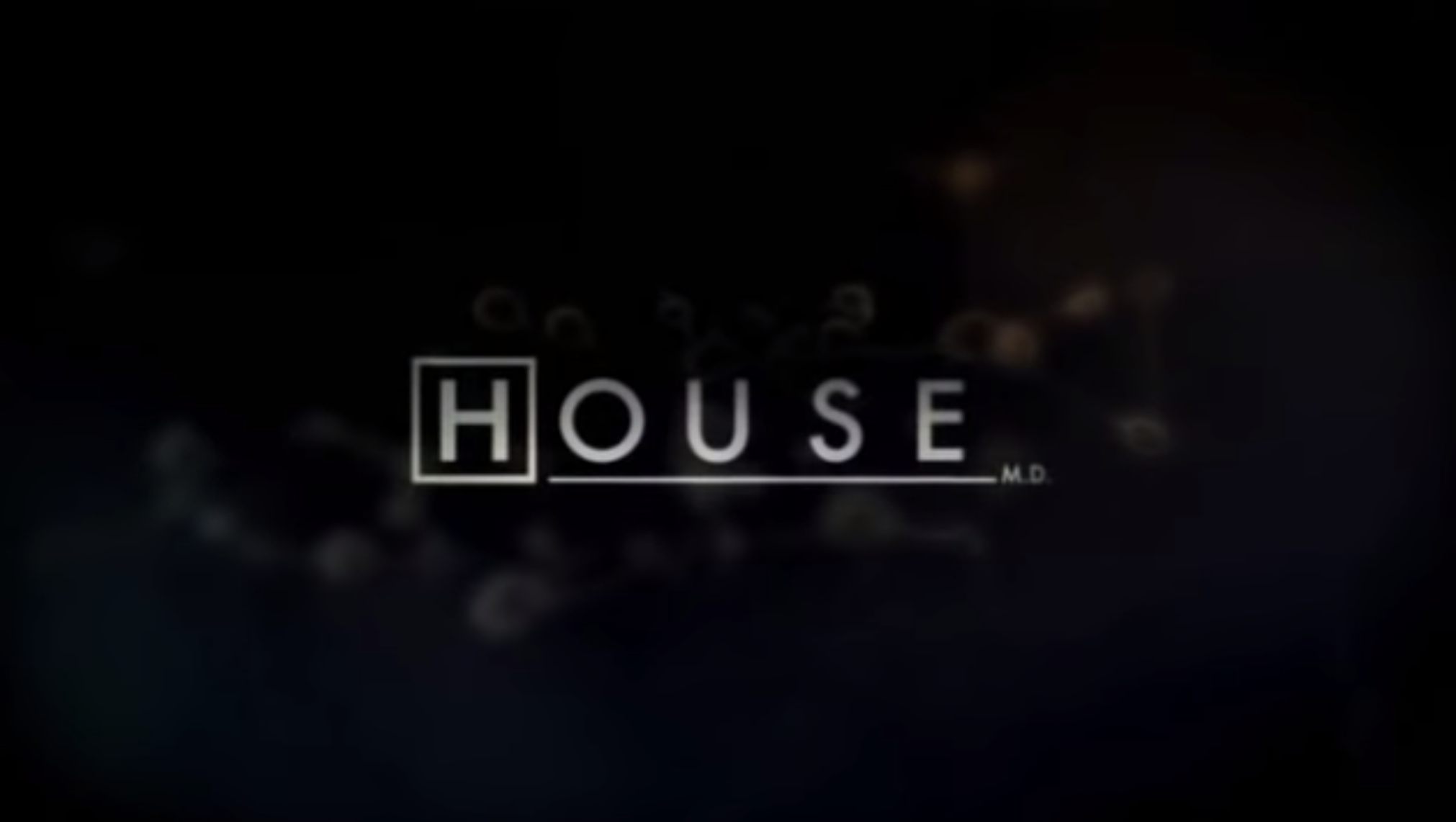 """House M.D."" title card — which is the title of the show over an x-ray."