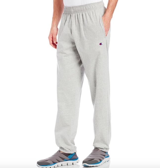 Model wearing Champion jersey sweatpants in grey