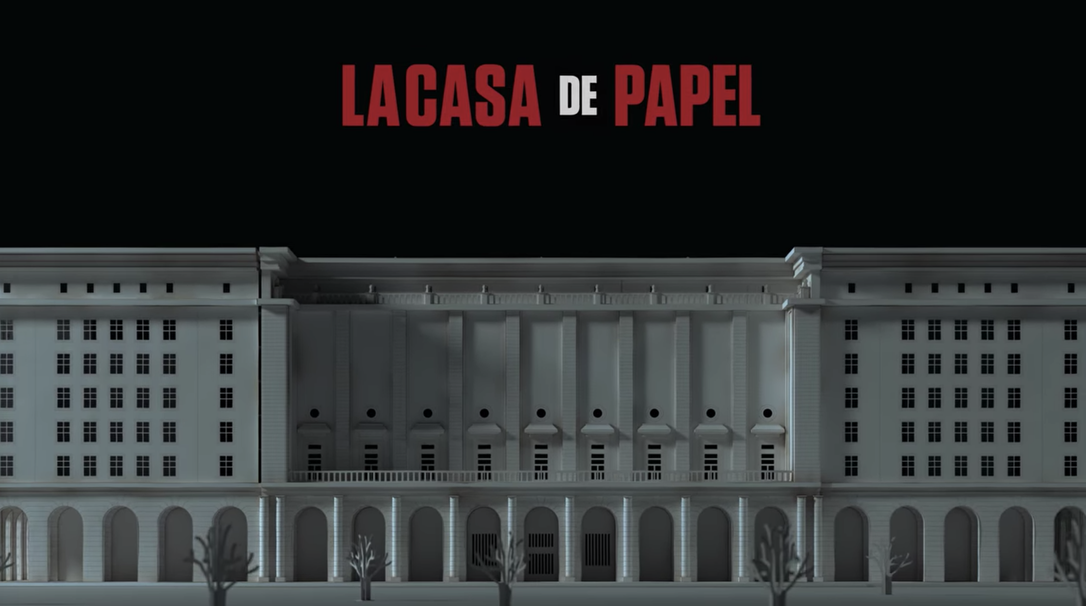 """La Casa de Papel"" title card — which is the title of the show over a white bank."