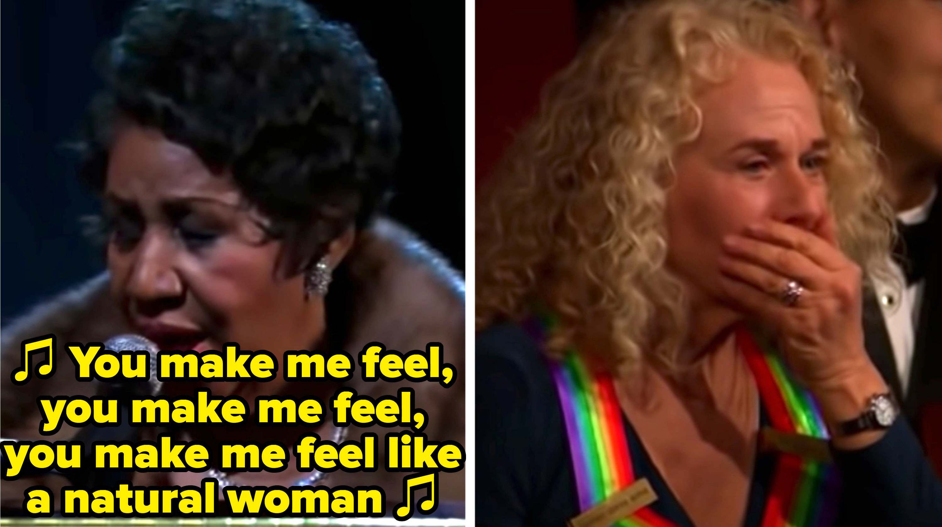 "Aretha Franklin singing ""(You Make Me Feel Like) A Natural Woman)"" and Carole King is in awe, covering her mouth"