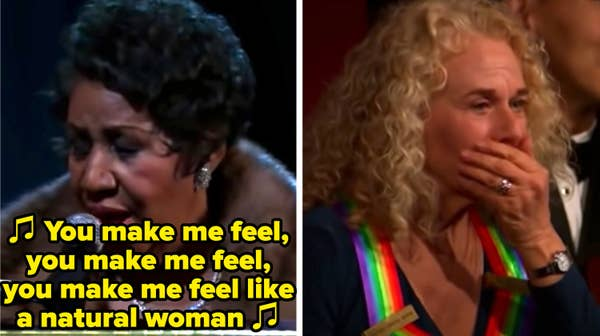 """Aretha Franklin singing """"(You Make Me Feel Like) A Natural Woman)"""" and Carole King is in awe, covering her mouth"""