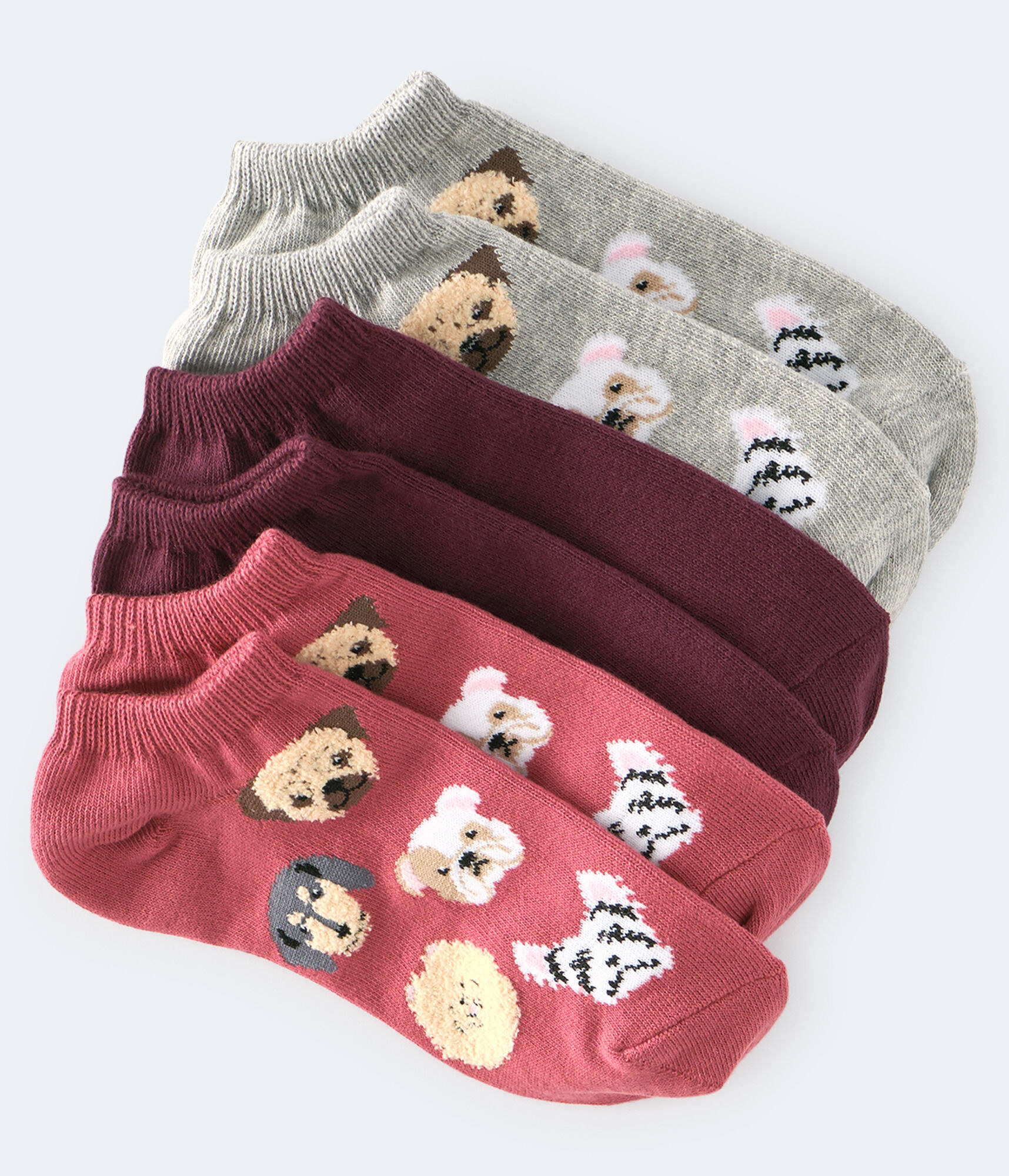 Three pairs of socks: Two printed with Pug, Dachshund, Pomeranian, Bulldog, and Westie faces (some of which are fuzzy) in red and gray, and one solid burgundy pair