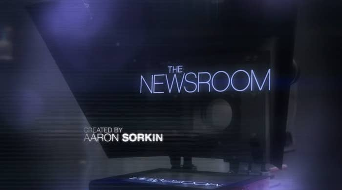 """The Newsroom"" title card — which is the show title over a camera."