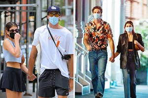 Photos of Kaia Gerber and Jacob Elordi holding hands while wearing masks.