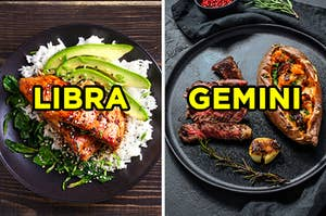 "On the left, teriyaki salmon on a bed of rice and avocado labeled ""Libra,"" and on the right, a steak a potatoes dinner labeled ""Gemini"""