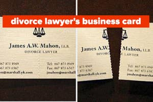 a divorce lawyer's business card that tears into two