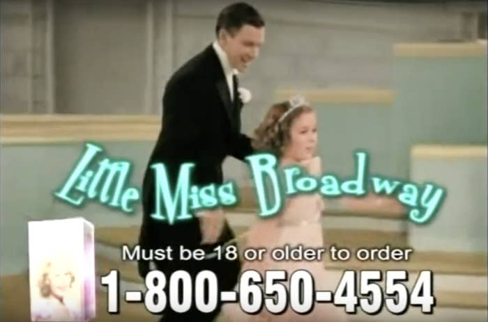 """A screen grab of the commercial with Shirley Temple holding a dancer's hand and """"Little Miss Broadway"""" written over her"""