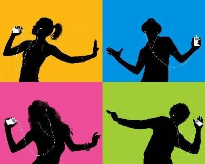 Four different blocks each featuring a black silhouettes dancing with iPods