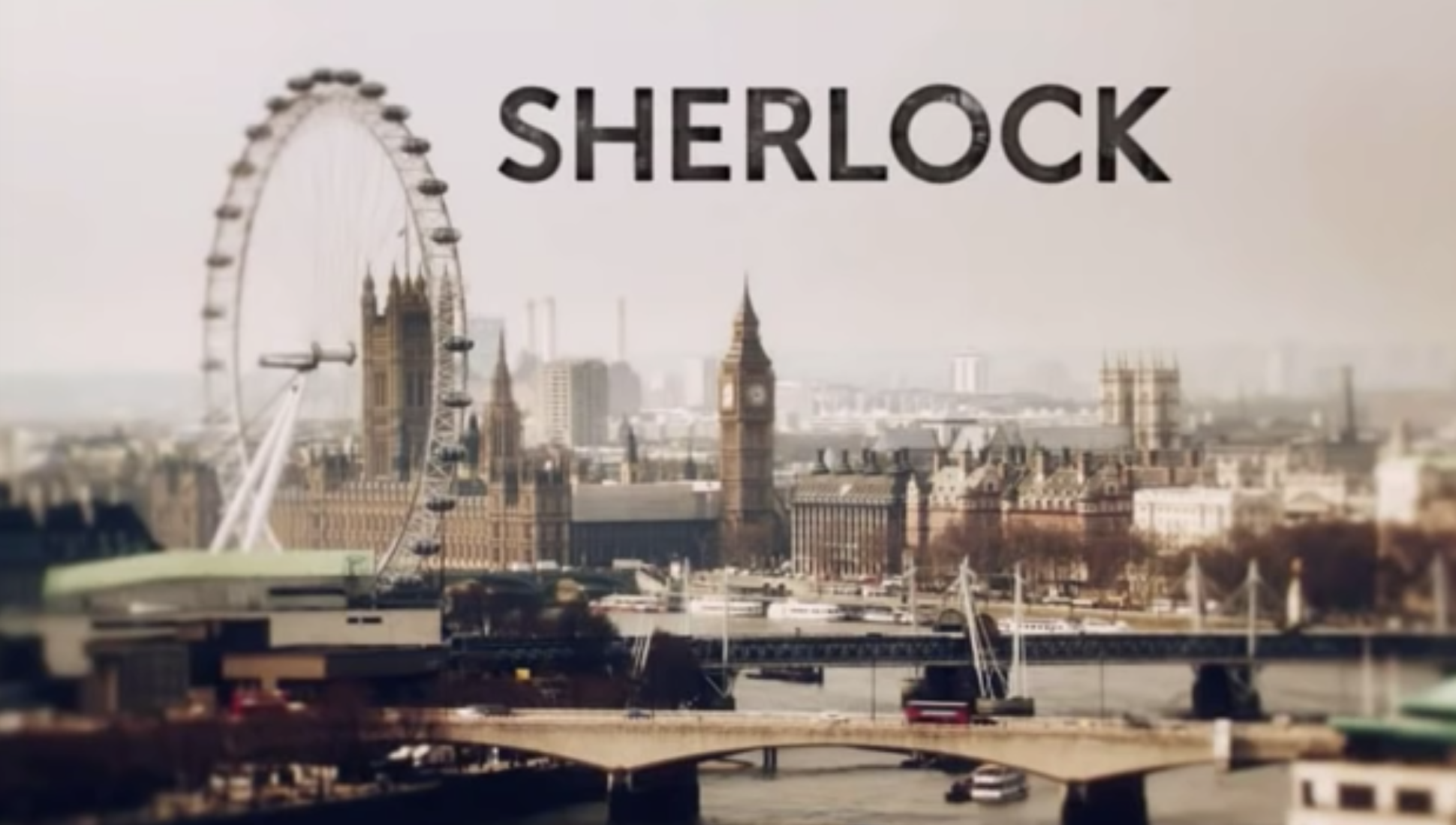 """Sherlock"" title card — which is the title over a London landscape."