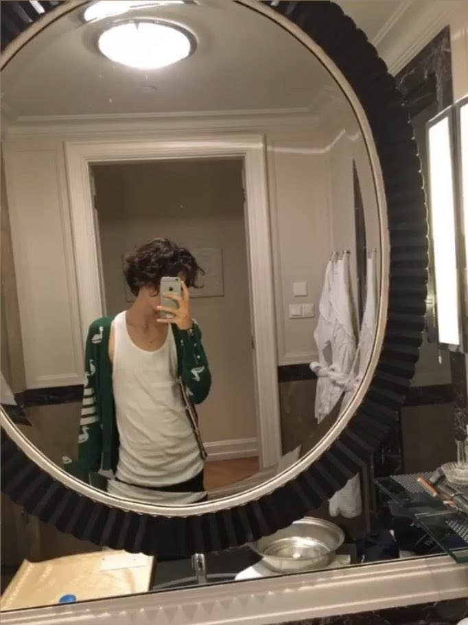 Timothée poses in a mirror wearing a designer duck-printed cardigan