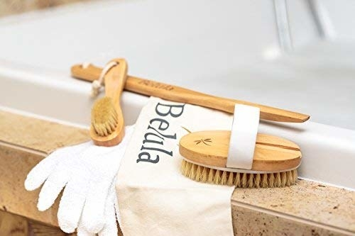 Small brush, hand brush, exfoliating gloves, and extension handle