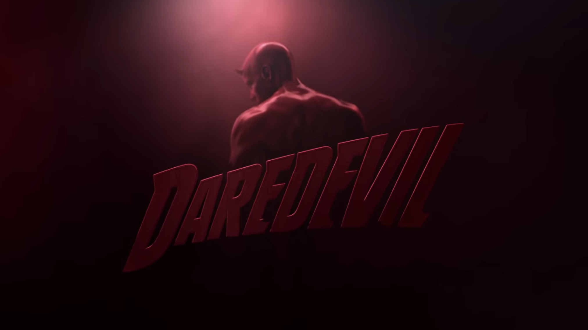 """Daredevil"" title card — which is the title over a silhouette of the superhero."