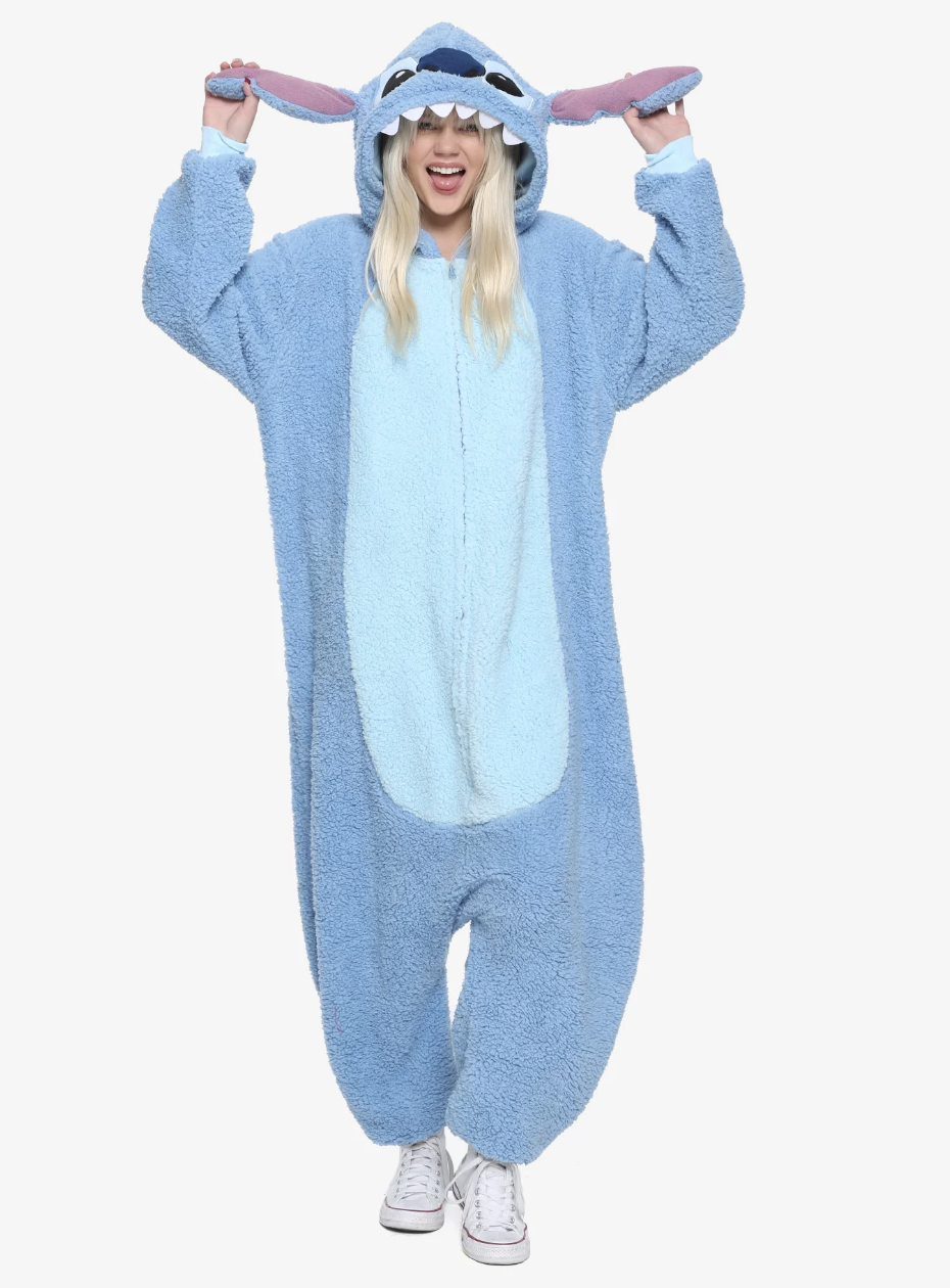 Model in a Stitch from 'Lilo & Stitch' onesie with hood