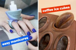 On the left, a nail polish holder, and on the right, a coffee bean ice tray