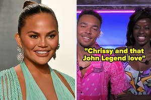 "Chrissy next to Caleb and Justine from ""Love Island"" with the caption ""Chrissy and that John Legend love"""