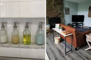 (left) Glass bottles with bathroom supplies in them (right) Skinny wood-like top console table with black metal legs