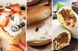 A Belgian waffle with berries and cream, a plain bagel with cream cheese, and a chorizo egg breakfast burrito
